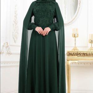 Fancy Green maxi Dress jilbab abayaBoutique for sale